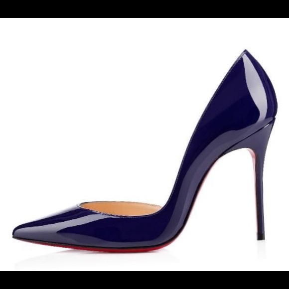 promo code 84eef c22f2 CHRISTIAN LOUBOUTIN NAVY PATENTS HEELS